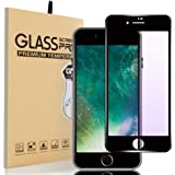 iphone7plus/iphone8plus ガラスフィルム ブルーライトカット Miyosa 炭素繊維 3D全面 強化ガラス 液晶保護フィルム 【日本旭硝子製】 極薄0.2mm 「角割れ」防ぎ/高透過率/硬度9H/指紋防止/自動吸着/飛散防止 (ブラック)