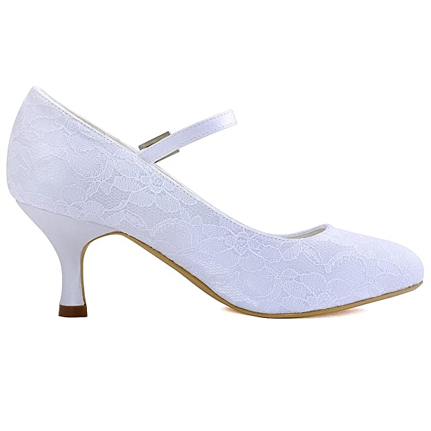9232801f4577 ElegantPark EP1085 Women Round Toe Mid Heels Crystal Buckle Bride Mary Jane  Strap Pumps Lace Wedding Shoes  Amazon.co.uk  Shoes   Bags