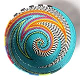 African Zulu woven telephone wire bowl – Small round - Turquoise and multicolour - Gift from Africa