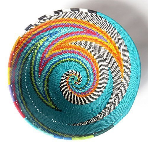 African Zulu Telephone Wire - African Zulu woven telephone wire bowl – Small round - Turquoise and multicolour - Gift from Africa