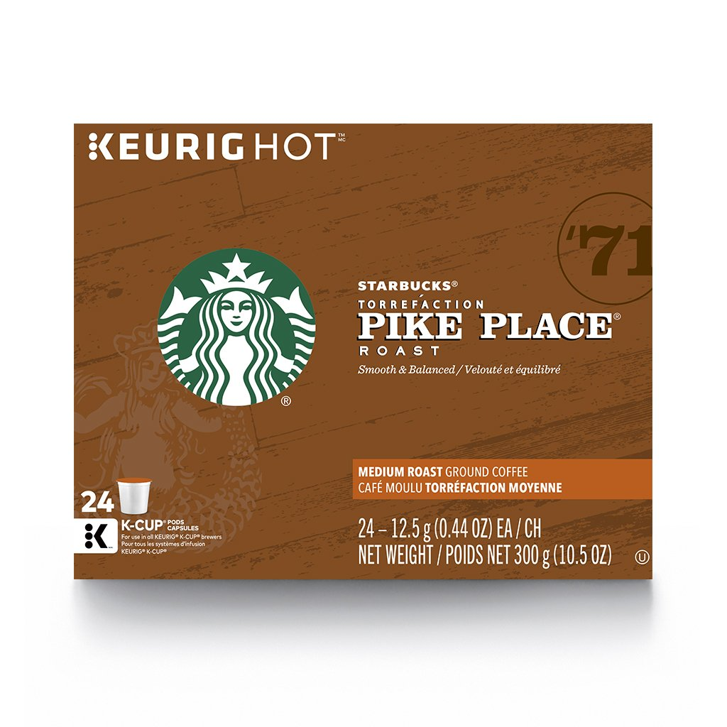 Starbucks Pike Place Medium Roast Single Cup Coffee for Keurig Brewers, 4 Boxes of 24 (96 Total K-Cup pods)