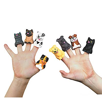 "12 ~ Cat & Dog Finger Puppets ~ Vinyl ~ Approx. 2"" ~ New"