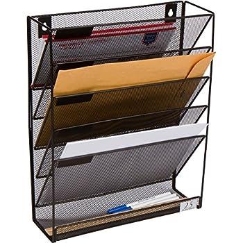 Amazon Com 5 Pocket Wall Mounted File Hanging Organizer