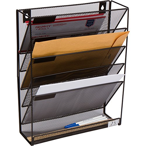 (5 Pocket Wall Mounted File Hanging Organizer Metal Mesh Office Home Folder Binder Holder Magazine Mail Rack + Hardware, Black)