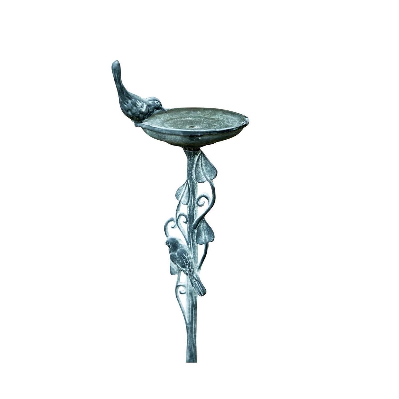 Vintage Style Metal Effect Aged Bird Bath
