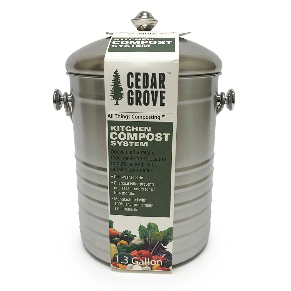 Stainless Steel Kitchen Compost Bin 1.3 Gallon, with Charcoal Filter Lid – Cedar Grove Diamond Opal DO-1450-SS
