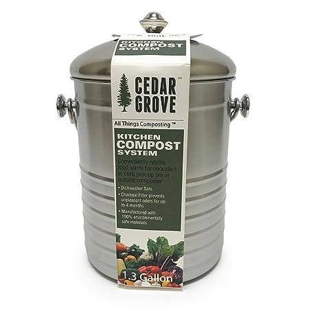 Cedar Grove cubo de basura para abono con tapa, 1,3 gallon ...