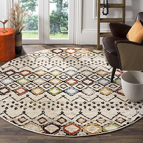 Safavieh Amsterdam Collection AMS108K Boho Chic Moroccan Distressed Area Rug, 11 Round, Ivory Multi