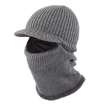 bc5ec57d5a6 Winter Hats Beanie Cap Mens Womens Neck Warmer Windproof Ear Face Cover  Balaclava Mask Knitted Wool Lining Scarf Set Snowboard Biking Climbing  Grey