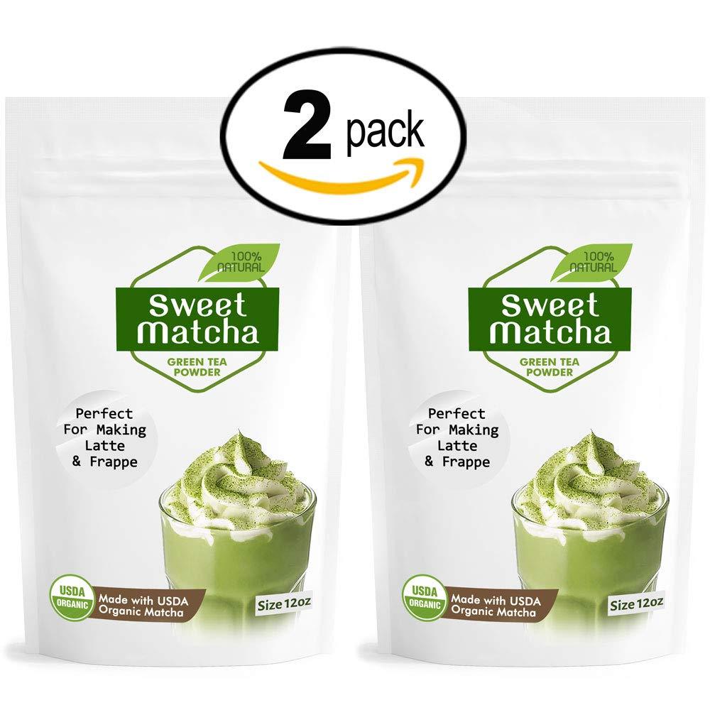 Japanese Sweet Matcha Green Tea Powder 2 pack (12oz x2) Latte Grade; Delicious Energy Drink - Shake, Latte, Frappe, Smoothie. Made with USDA Organic Matcha