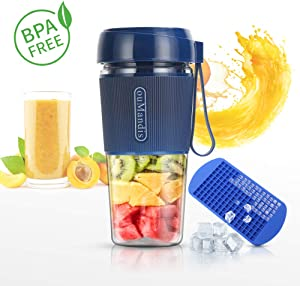 Mini Personal Portable Blender, USB Rechargeable Fruit Juicer Mixer for Home Outdoor Travel Office,BPA Free,10oz/300ml(Blue)