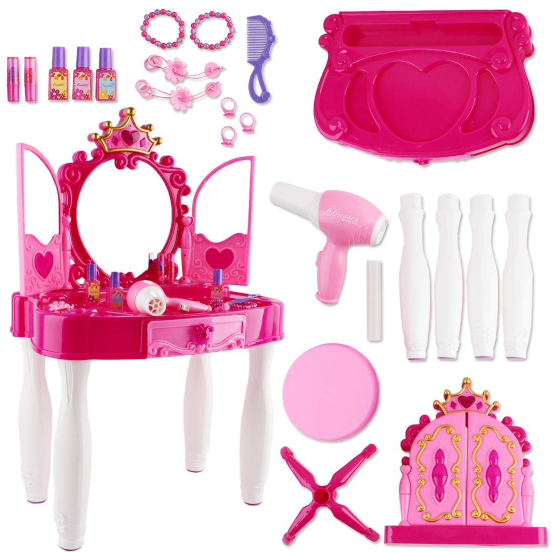 deAO (DRPT Girls Vanity Dressing Table Playset with Glamour Mirror; Makeup Accessories; Stool; Light