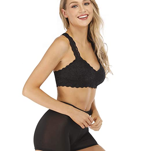 0cfbd4049a Rolewpy Women s Sexy Lace Bra Removable Padded Racerback Breathable Bralette  Bustier Sports Bras at Amazon Women s Clothing store