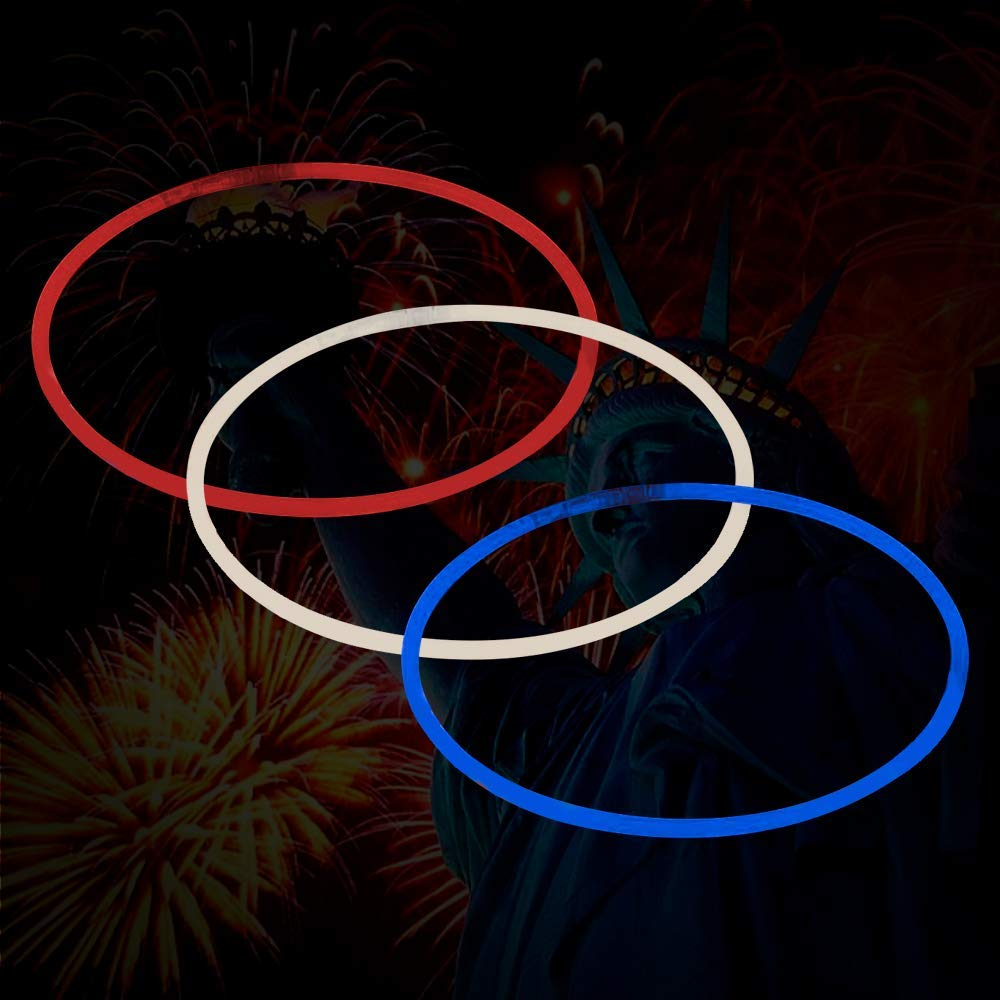 Lumistick 22 Inch Glow Sticks Necklace | Perfect for 4th July Independence Day | Long Lasting Tri-Colors Kid Safe Non-Toxic Bendable Glow Light Sticks with Connectors - 150 Count (Red White & Blue)