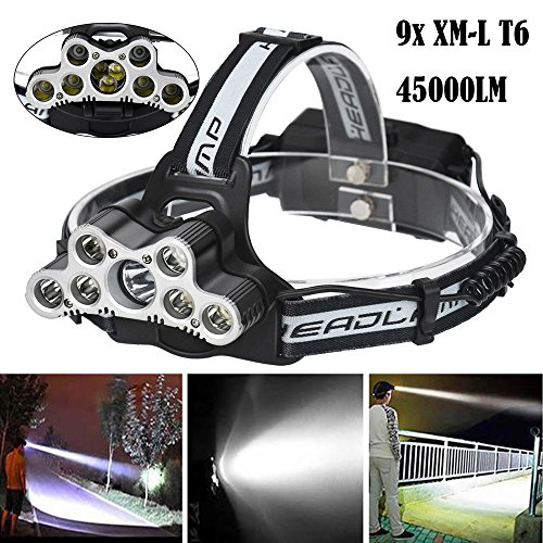 LED Headlight Torch Flashlight, 45000 LM 9X XM-L T6 LED Rechargeable Headlamp Headlight 6 Modes Travel Head Torch Light Lamp Tactical Flashlights for Sporting Outdoor Camping Hiking by Ghazzi