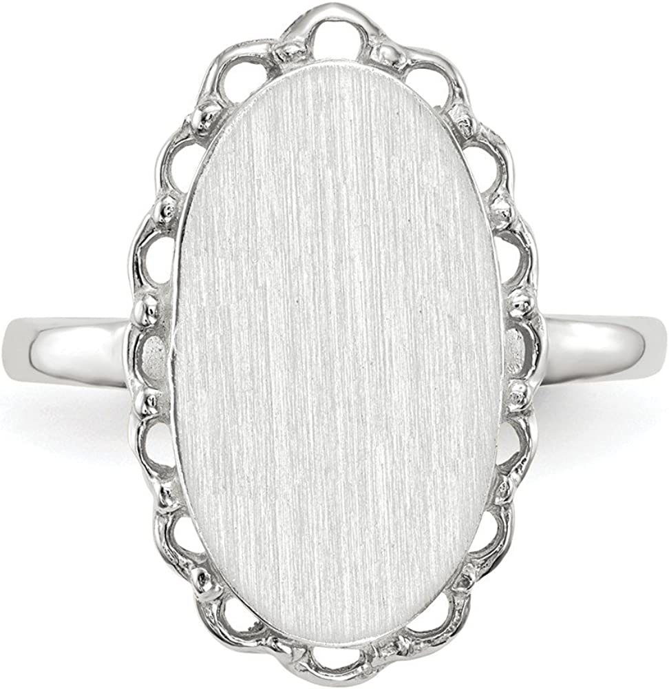 Mia Diamonds 14K White Gold Signet Ring Size-6