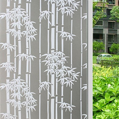 HOYOYO Self Adhesive Glass Window Films, 17.7inch x 78.7 inch Privacy Window Decorative Frosted Static Cling Film bamboo ()