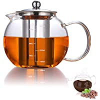 AUBBC Glass Teapot Has Scale Line with Stainless Steel Infuser (32oz/950ml), Stovetop Safe Glass Tea Kettle for Blooming…