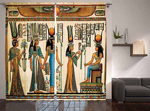 Ambesonne Egyptian Decor Collection, Egyptian Papyrus Depicting Queen Nefertari Making an Offering to Isis Picture, Living Room Bedroom Curtain 2 Panels Set, 108 X 84 Inches, Blue Teal Orange