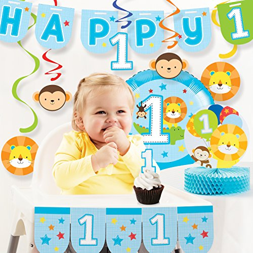 Creative Converting One is Fun Boy 1st Birthday Party Decorations Kit