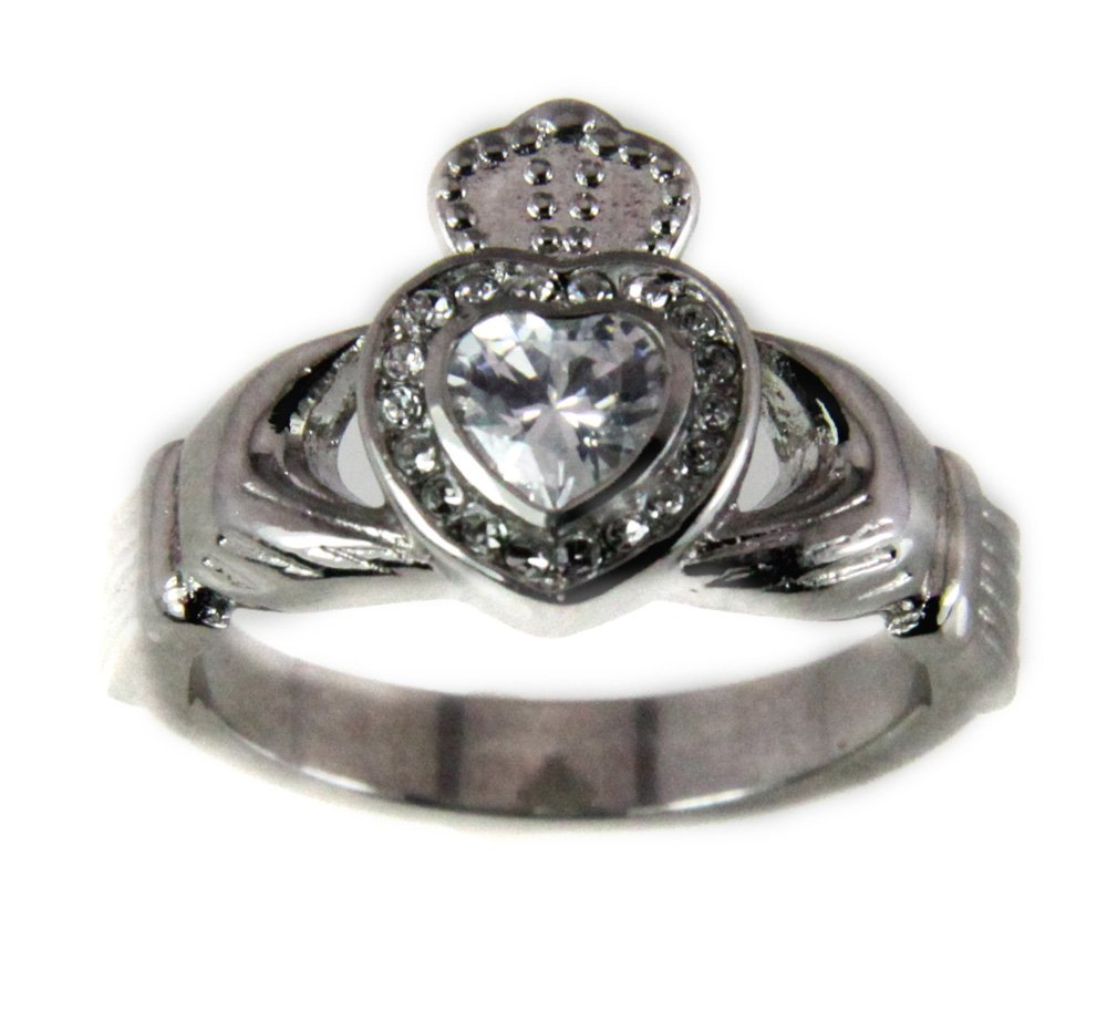 T13 Stainless Steel Claddagh Ring Irish Love Tradition Heart and Crown (8)