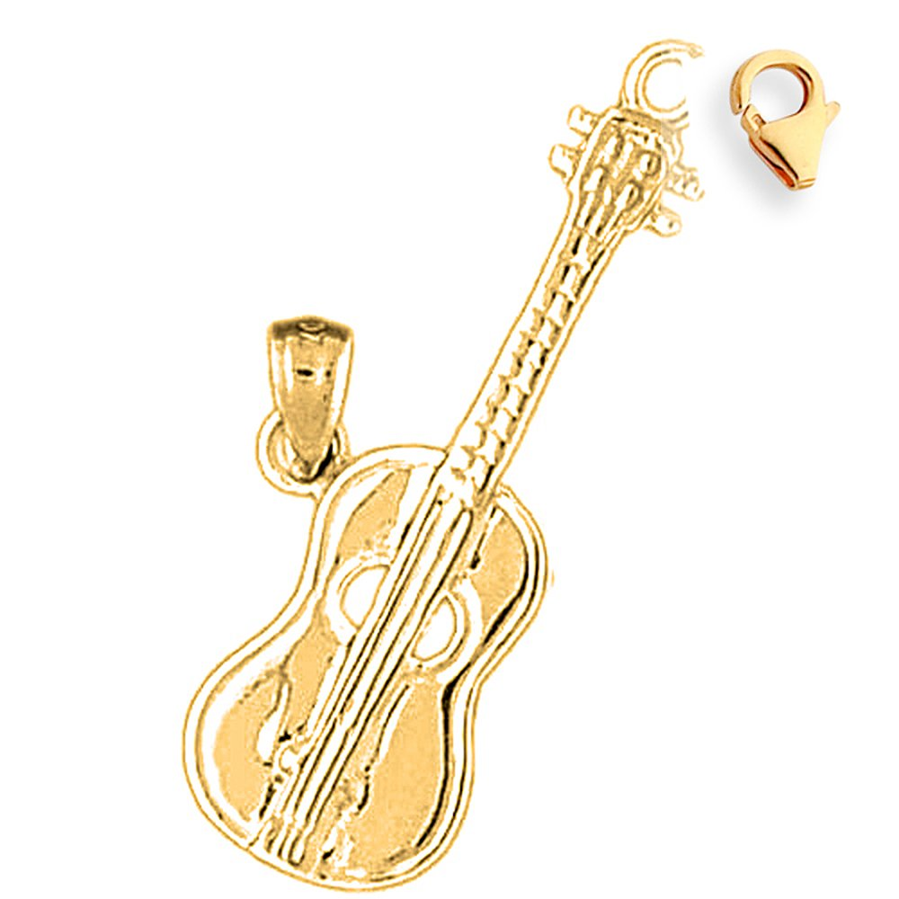 Silver Yellow Plated Accoustic Guitar Charm 32mm
