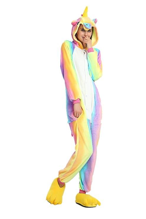 più recente d9b5c e9ef3 Rainbow Unicorn Unisex Pigiama Unicorno Animal Flanella Costumi Cosplay  Costumi per Feste Halloween Carnival novità (Arcobaleno, L-per Altezza  173-178 ...