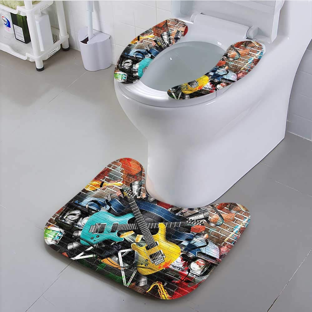 aolankaili The Toilet Condom Collage of Music Color and Musical Instruments Street Wall Art Joy Nostalgia in Bathroom Accessories