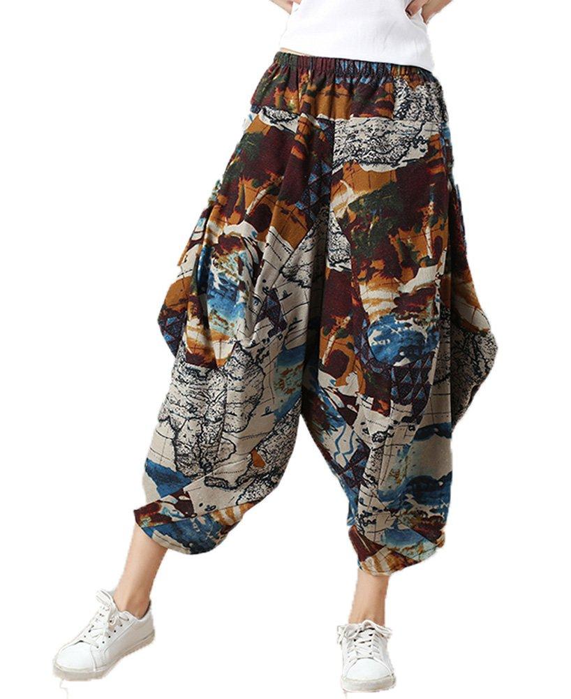 Dinier Girls 2018 Retro Floral Print Wide Leg Pants Casual Elastic Waist Cotton Linen Loose Low Crotch Culottes Trousers One Size