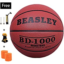 NZACE Basketball Outdoor/Indoor Game Balls Leather Street basketballs Competition Official Size 7/29.5 with Pump, Needles, Net(Red)