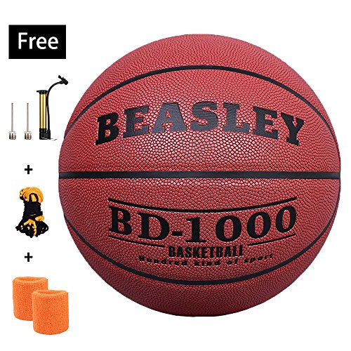 NZACE Basketball outdoor/indoor game balls Leather street basketballs Competition Official size 7/29.5 with Pump, Needles, Net(Red) (Official Basketball Hoop Size)