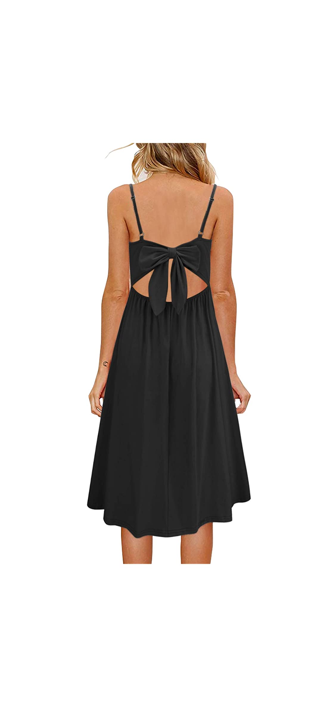 Womens Summer Backless Adjustable Spaghetti Strap Tie Back