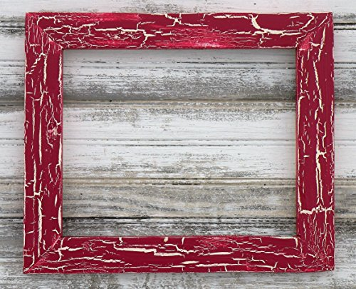 Raspberry Crackle Wood Picture Frame, Distressed Wood Picture Frame, Rustic Mirror, Country Chalkboard, Farmhouse Style Wood Photo (How To Crackle Paint)