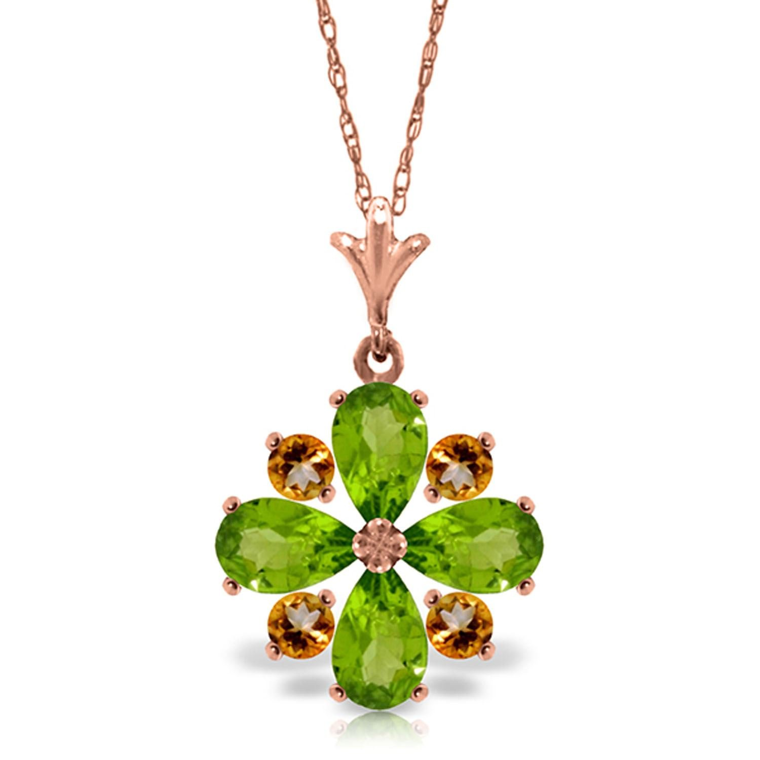 ALARRI 2.43 CTW 14K Solid Rose Gold Summer Peridot Citrine Necklace with 18 Inch Chain Length