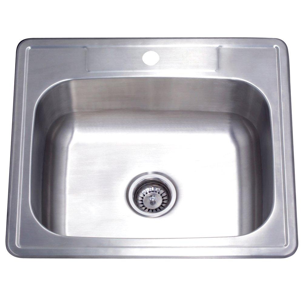 Kingston Brass GKTS252281 Studio Self Rimming Single Bowl Kitchen Sink, 25-Inch x 22-Inch x 8-Inch, Brushed Nickel