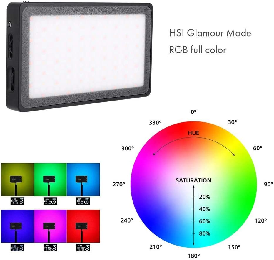 LED Fill Light Photography 2500-8500k RA/≥96 9 Lighting Effects with Battery Zoternen 12W RGB LED Mini Pocket On Camera Light