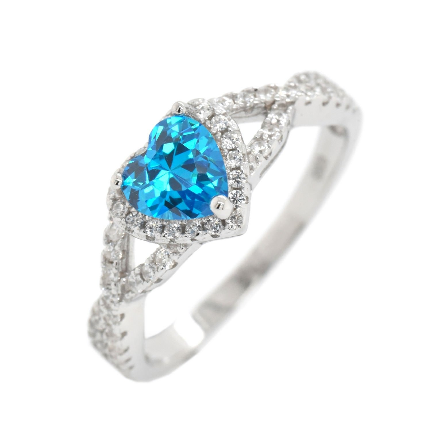 Simulated Birthstone Cubic Zirconia Halo Infinity Womens Girls Sterling Silver Ring Size 7 - BlueTopaz