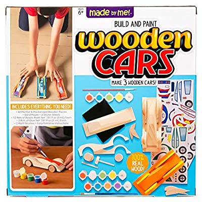 Made By Me Build & Paint Your Own Wooden Cars by Horizon Group Usa, DIY Wood Craft Kit, Easy To Assemble & Paint 3 Race Cars, Multicolored: Toys & Games