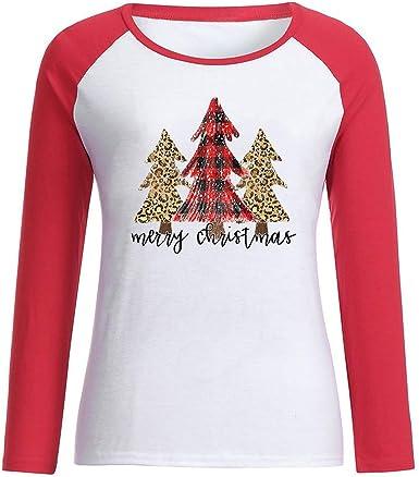 Camiseta de Mujer Manga Larga Moda Casual Navidad Impresión ...