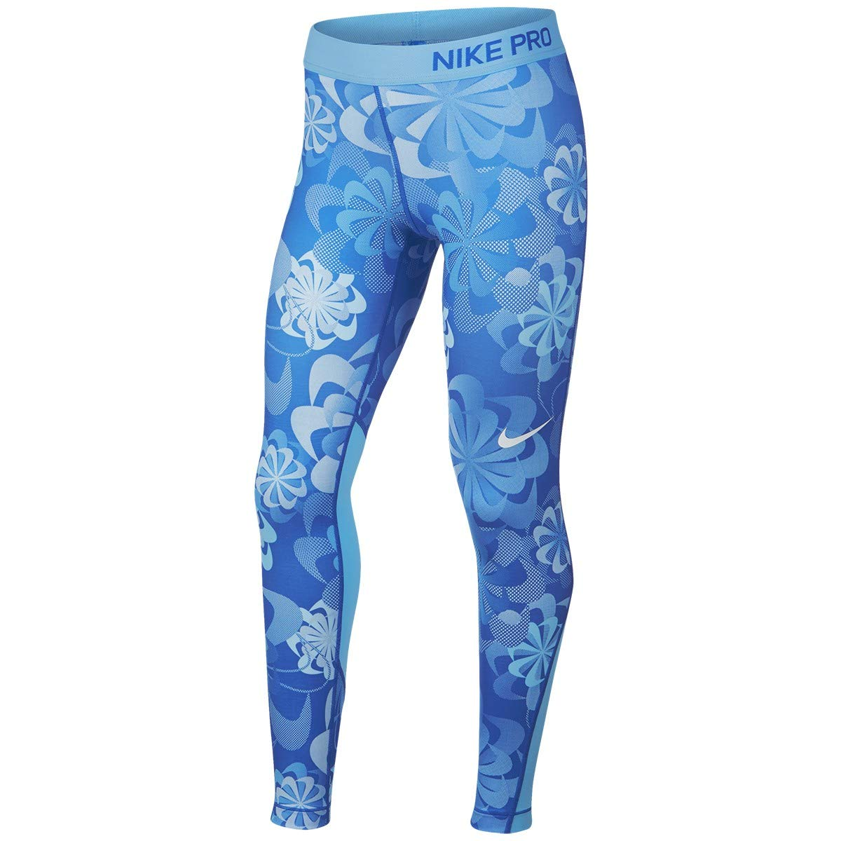 Nike Girl's Pro Printed Training Tights Small Blue