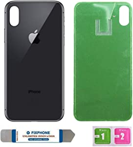 OEM Replacement Back Glass Cover Back Battery Door Replacement for iPhone X with Pre-Installed Adhesive and Tool (Black)