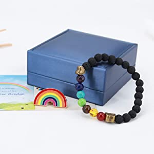 Pet Memorial Gifts,Rainbow Bridge Bracelet for Beloved Dog Cat,Nature Lava Stone Bead 7 Chakra Pet Memorial Bracelet for Women Men Who Loss of Pets,Pet Sympathy Gift Set of 4 with Rainbow Bridge Card