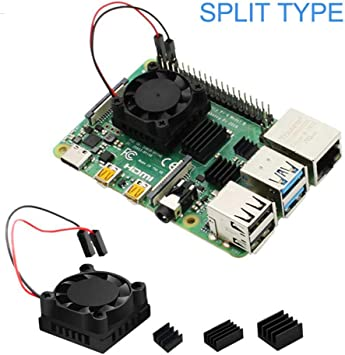 Blentude para Raspberry Pi 4B Juego de Ventilador de radiador de refrigeración, disipador de Calor, Asiento de ...