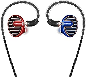 SIMGOT EN700 PRO High Fidelity in-Ear Monitor Headphones with Detachable Cable, Hi-Res Audio Earbuds with Dynamic Balanced Driver, Professional IEM Earphones,Noise-Isolating Musician Headset(Red/Blue)