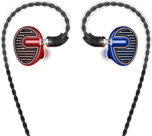 SIMGOT EN700 PRO High Fidelity in-Ear Monitor Headphones with Detachable Cable,Hi-Res Audio Earbuds with Dynamic Balanced Driver, Professional IEM Earphones, Noise-Isolating Musician Headset Red Blue