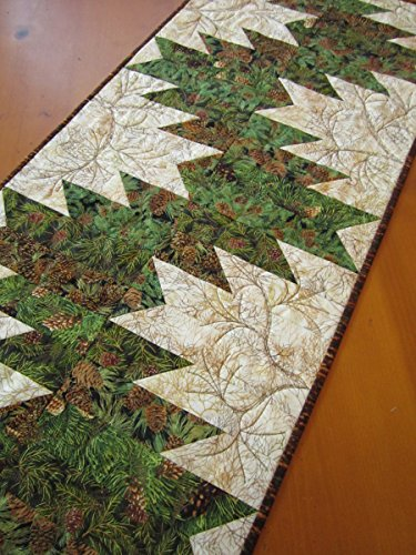 Quilted Table Runner, Handmade Runner, Pine Sprigs Table Runner, Cabin Decor by Patchwork Mountain