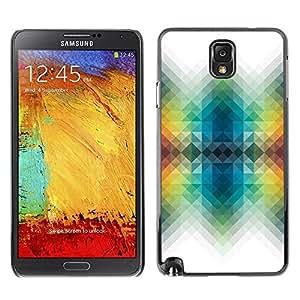 FECELL CITY // Duro Aluminio Pegatina PC Caso decorativo Funda Carcasa de Protección para Samsung Note 3 N9000 N9002 N9005 // Vibrant White Polygon Colors