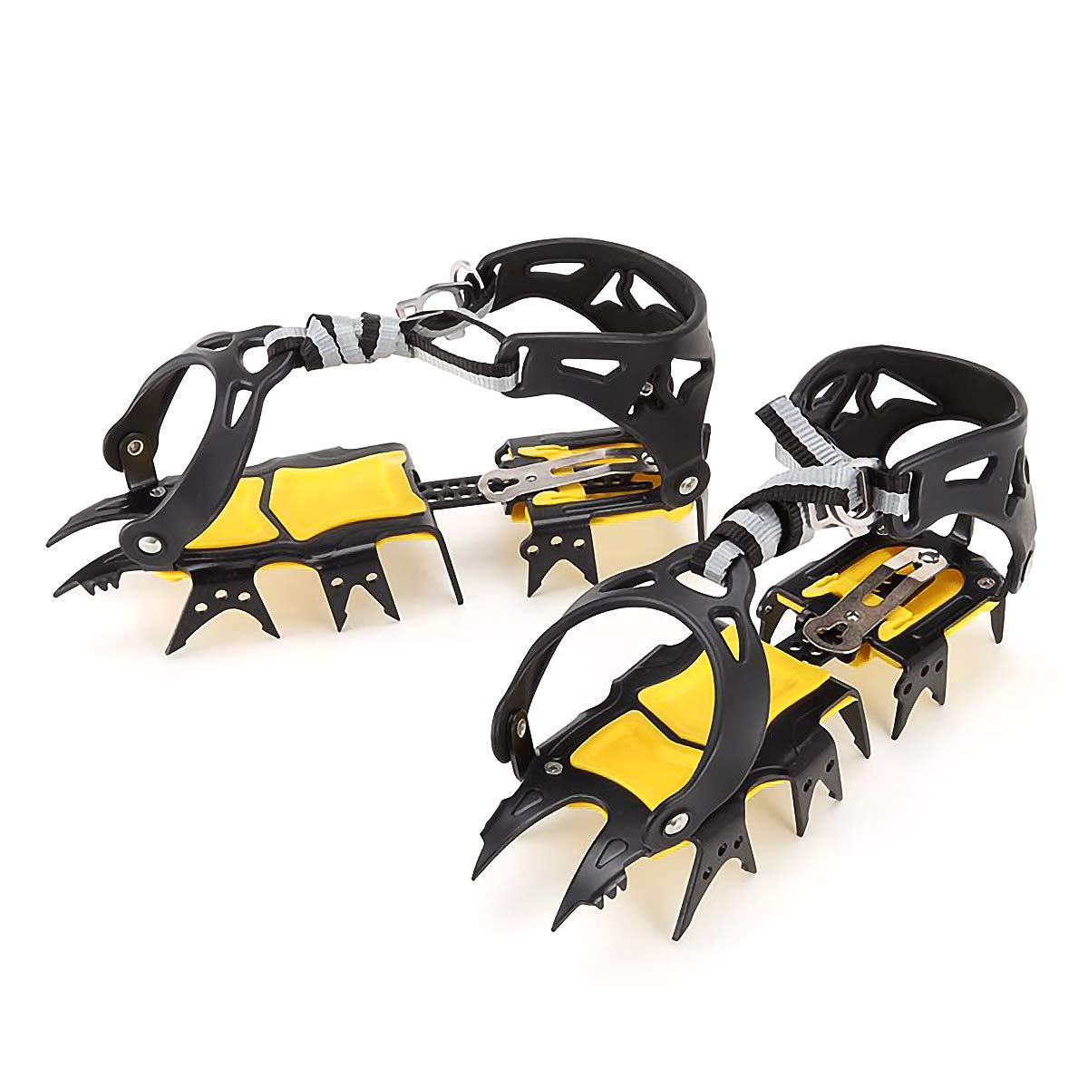 Walsilk Crampons Traction Cleats Spikes Snow Grips,Anti-Slip Stainless Steel Crampons for Mountaineering & Ice Climbing (18 Teeth crampons) by Walsilk