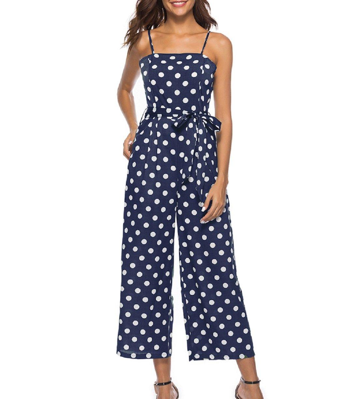 Women Jumpsuit, L'ananas 2018 Spaghetti Strap Sleeveless Polka Dot Bowknot Belt Wide Legs Long Overalls (CN-L/US-6, Navy)