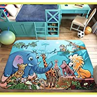 RuiHome Jungle Animal Theme Non-Slip Kids Nursery Rug Baby Play Crawling Mat for Bedroom Living Room Picnic - 39x59